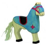 Fa játék figurák - lovagi ló, kék