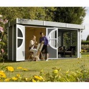 Abri de jardin Summerhouse RELAX en bois scandinave peint - 9.28 m2