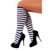 Coppens Overknee stockings blauw/wit - Blauw - Grootte: Nvt