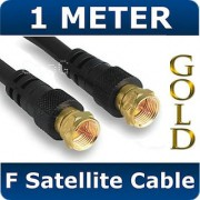 1m Satellite F Connector for Sky Cable Black Lead GOLD TV Digital Male to Male