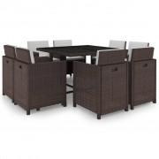 vidaXL 9-dijelni vrtni blagovaonski set od poliratana s jastucima smeđi