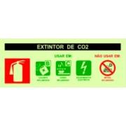 Placa de sinalização Agente Extintor CO2
