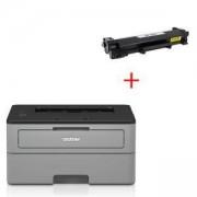 Лазерен принтер Brother HL-L2312D, 32 MB, Hi-Speed USB 2.0, HLL2312DYJ1+Съвместима тонер касета Brother TN-2421,2420 High Yield Toner Cartridge