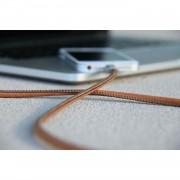 PlusUs LifeStar Handcrafted Lightning Cable - ръчно изработен сертифициран Lightning кабел за iPhone, iPad и iPod (1 м.) (сребрист-кафяв)