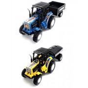 Combo Toys of Tractor with Trolley and Tractor with Tanker | Toy for Kids | Show Piece | Miniature/Model Tractor |Pull Back and Go | Blue and Yellow Color| Set of 2 Tractors - Value Pack