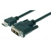ASSMANN DK-330300-020-S :: Адаптерен кабел, HDMI M - DVI-D M (18+1), HD-Ready, Single Link, 2.0 м