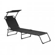 [casa.pro]® Tumbona plegable 190cm negra con techo acero hamaca
