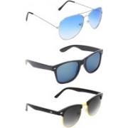 Abner Aviator, Wayfarer, Clubmaster Sunglasses(Blue, Multicolor, Black)