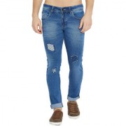 Stylox Men's Premium Stretchable Slim Fit Whisker Washed Patch Work Blue Jeans