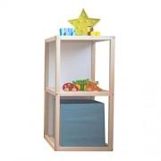 Kit Mobiliario Cubo Doble Montessori Infantil Estante Libreros Nordico de Madera Organizador