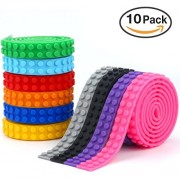 10-Rolls Building Block Tape (1-Meter / Roll) Child Safe FDA Approved Silicon Non-Residue Non-Toxic Building Block Tape Works With Legos Creative Building Toy Base For Lego Building Blocks