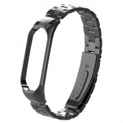 Solid Stainless Steel Metal Smart Watch Band for Xiaomi Mi Smart Band 4 - Black