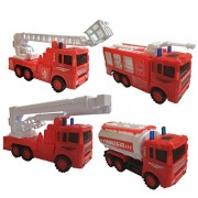 HALO NATION® Unbreakable Friction Truck Set - Pull Back Trucks Set of 4 (Fire Brigade - 2 Ladder Truck & 2 Tankers)