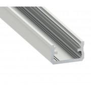 Alumínium U profil LED szalaghoz , 1 v 2 méter , VÍZTISZTA fedővel , CLICK