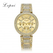 Lvpai 100% Stainless Steel Watches Women Crystal Round Wristwatch Classic Gold Watches Ladies Luxury Female Quartz Watch