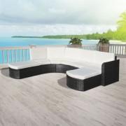Set mobilier de grădină, 16 piese, poliratan, negru