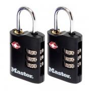 Set 2 ks kombinačních visacích zámků Master Lock TSA 4686EURT - černý
