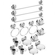 3-Set Of 5 Pieces Stainless Steel Bathroom Accessories Set-(3-Soap Dish 3-Tumbler Holder 3-Towel Rod-24 3-Napkin Ring 3-Robe Hook)-Creta Series