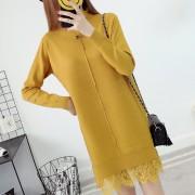 Vestido Casual E-Thinker para mujer holgado de tela punto de mediano largo - Amarillo