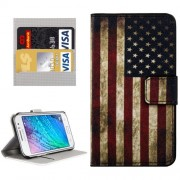 Samsung Galaxy J1 Ace Case, J110 Case, Stars and Stripes Patterns Horizontal Flip Leather Case with Magnetic Snap & Card Slots & Holder & Wallet
