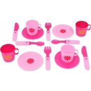 Set de bucatarie cu cesti farfurii si tacamuri pentru servit masa 14 piese roz 3 ani + Topi Toy