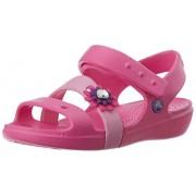 Crocs Girl's Keeley Petal Charm Sandal PS Neon Magenta and Carnation Rubber Fashion Sandals - C13 (14852-6L4)