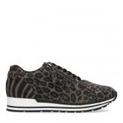 Manfield Grijze sneakers met panterprint