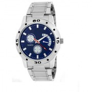 New Fogg Blue Silver Metal Strep Latest Designing Stylist Looking Professional Analog Watch For Men