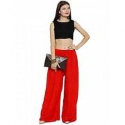 Riya Free size rayon chickankari red colour palazzo pant or trouser