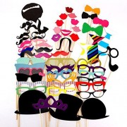 Ipalmay Photo Booth Props 58 PCS DIY Kit,Paper Prop On A Bamboo Stick for Taking Funny Photos On Birthday,Wedding,Reunions,Dress-up Costume Accessories with Mustache,Hats,Glasses,Lips,Bowties
