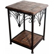 Shilpi Wooden And Iron End Table / Walnut And Black Table / Wooden Side Stool