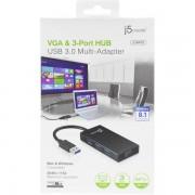 j5 create JUH410, USB 3.0 till VGA-adapter med inbyggd 3-ports USB-hubb, fungera