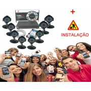 12 - Kit Câmeras AHD c/ INSTALAÇÃO DVR 8 Canais com HD + 8 Câmeras Infra + Acessórios -
