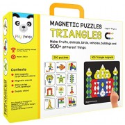 Play Panda Magnetic Puzzles : Triangles - Includes 400 magnets, 200 puzzles, magnetic board, display stand