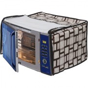 Glassiano Beige Checkered Printed Microwave Oven Cover for Samsung 20 Litre Grill Microwave Oven GW731KD-S/XTL Black