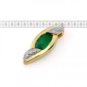Přívěs s diamantem, žluté zlato briliant, smaragd (emerald) s diamanty