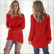 ER Female Sweater Women Candy Color Long Sleeve Round Neck Sweater Ladies Top-red