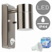 Stainless Steel Outdoor Garden Wall Down Light with PIR Motion Sensor IP44 Rated - 5W LED GU10 Bulb