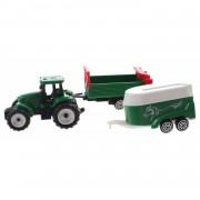 Toi-toys groene tractor met aanhangers groen/groen 7,5 cm
