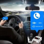 ER Cargador USB De 3 Puertos Inalámbrico Transmisor De Radio Bluetooth Transmisor De FM Del Jugador-Blanco