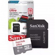 Memoria Sandisk 16gb Ultra Micro Sdhc Card 80mbs Clase 10