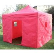 Párty stan DELUXE na záhradu nožnicový + bočné steny - 3 x 3 m červená