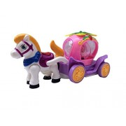 B/o Flashing Funny Action Bump & Go Musical Fairy Tale Dual Horse Princess Carriage