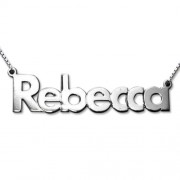 Personalized Men's Jewelry Sterling Silver Bold Print Name Necklace 101-01-075-02