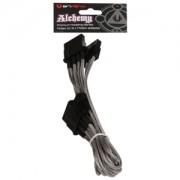 Cablu adaptor BitFenix Alchemy 4-pini Molex la 3x 4-pini Molex, 55cm, silver/black, BFA-MSC-M3MSK-RP