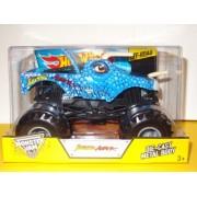 Jurassic Attack Hot Wheels Monster Jam Diecast 1:24 Truck 2014 Blue Dinosaur Monster Truck Off Road