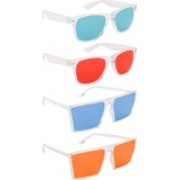NuVew Wayfarer, Retro Square Sunglasses(Green, Red, Blue, Orange)