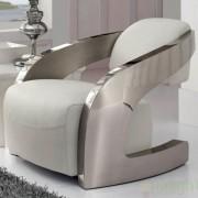 Fotoliu confortabil din piele italiana alba Armchair 532115