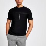 River Island Mens Black slim fit utility T-shirt (XXS)