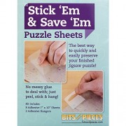Bits and Pieces Set of Eight (8) Peel and Stick Puzzle Saver Accessory Sheets - Preserve and Hang Your Finished Jigsaw Without Glue